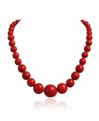 Jane Stone Round Beads Turquoise Necklace Bib Chunky Fashion Jewelry - Red - C611M9RTFE1