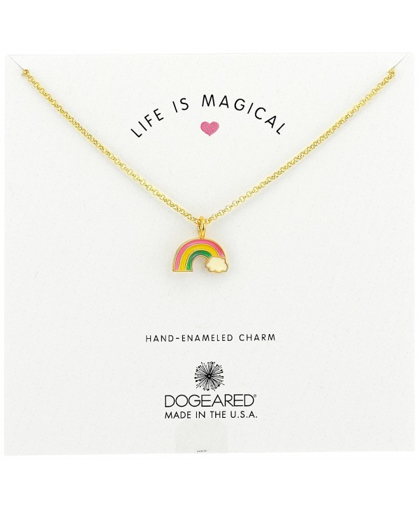 "Dogeared Enameled Life Is Magical- Rainbow Charm Enamel Pendant Gold Chain Necklace- 16"" + 2"" Extender - C017YYQOLSI"