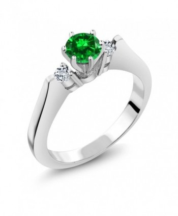 1.00 Ct Round Green Simulated Emerald White Topaz 925 Sterling Silver 3-Stone Ring - C311GO5RDC5