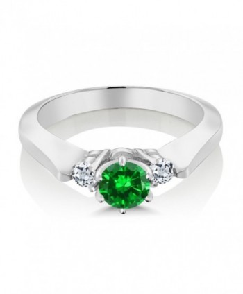 Simulated Emerald Sterling Silver 3 Stone