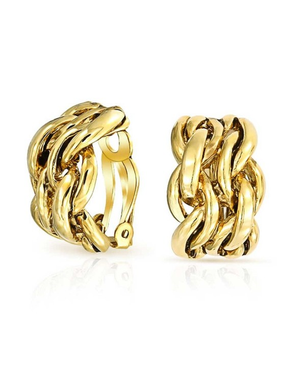 Bling Jewelry Gold Plated Alloy Double Chain Links Half Hoop Clip On Earrings - C111IK8HJEL