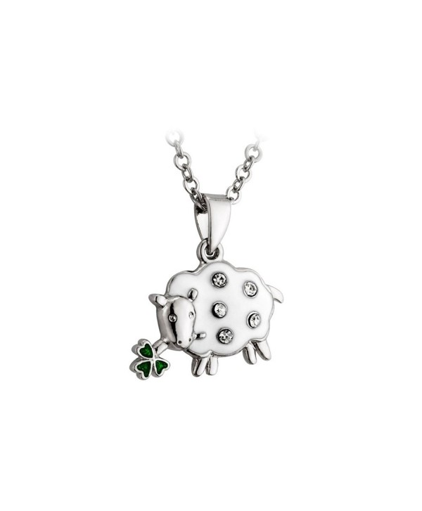 Irish Sheep Necklace Rhodium Plating- Enamel & Crystal - C8114U11GAJ