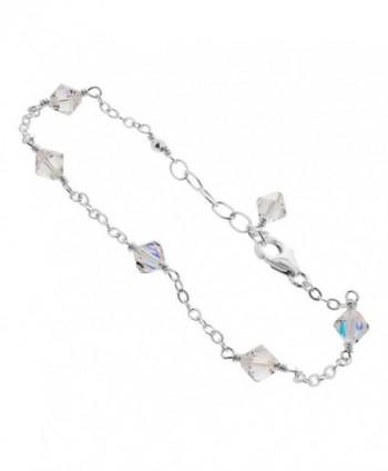 Gem Avenue Sterling Silver Swarovski Elements Clear AB Bicone Crystal Ankle Bracelet - C3122IZ1FQT