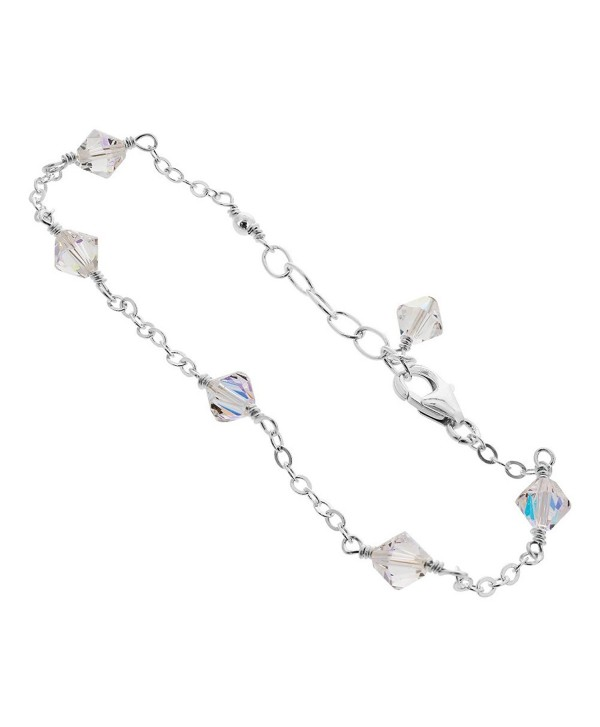Sterling Silver Swarovski Elements Clear Ab Bicone Crystal Ankle Bracelet C3122iz1fqt
