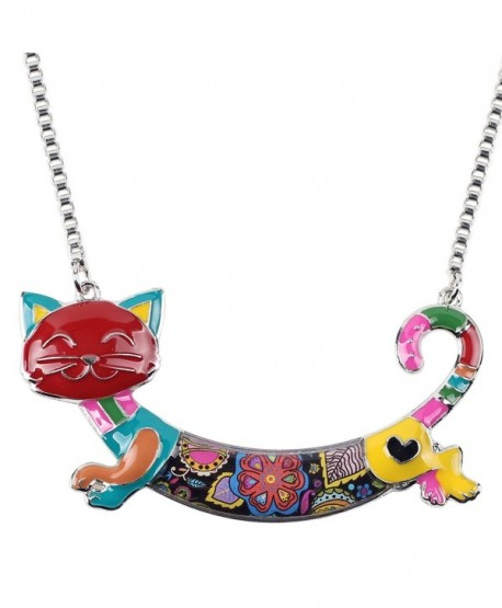 Bonsny Statement Enamel Chain Alloy Cat Necklaces Pendant Jewelry For Women Girls New Design - Multicolor - C8185NG2G2R