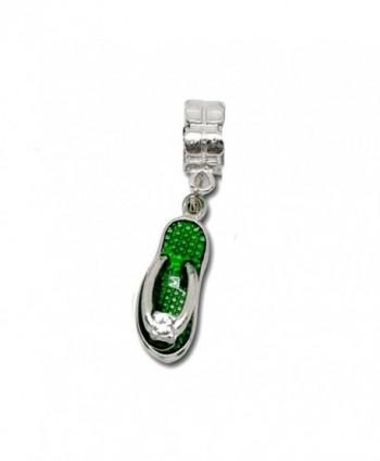 "Dangling ""Flip Flop Shoe"" Charm Bead for European Snake Chain Charm Bracelet - Green - CG12B5XWIJN"