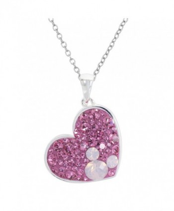 "Disney Mickey Mouse Silver Plated Multi Pink Crystal Heart Pendant- 18"" - C7188YHG9XK"
