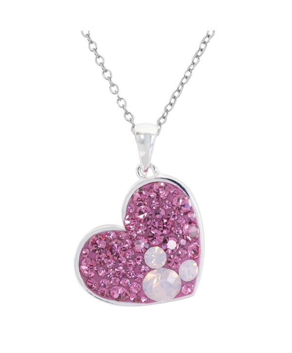 """Disney Mickey Mouse Silver Plated Multi Pink Crystal Heart Pendant- 18"""" - C7188YHG9XK"""