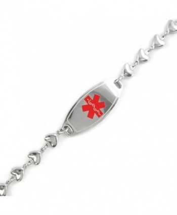 MyIDDr - Pre-Engraved & Customizable Diabetes Type II ID- Medical Alert Bracelet- Heart Chain - CL11CK0BEXH
