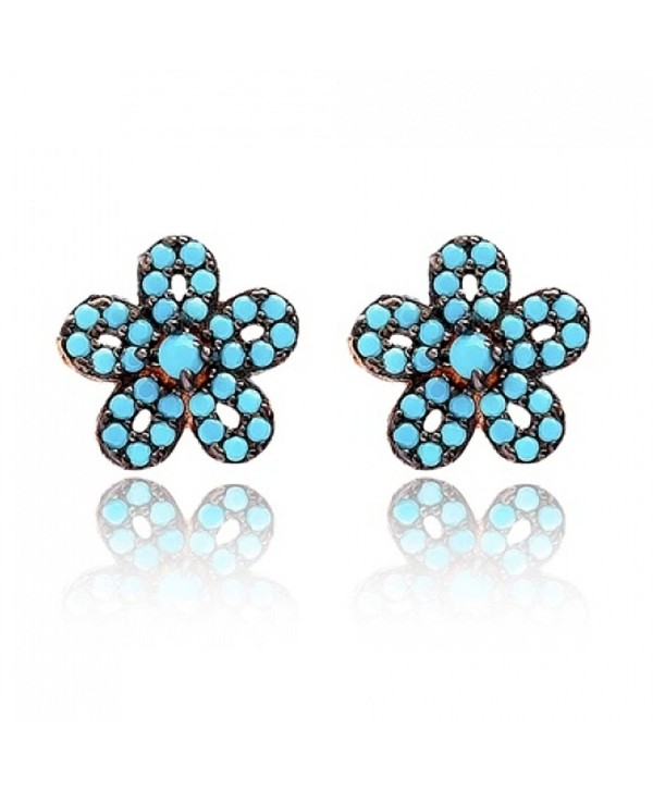 Stud Earrings Turquoise Flower Rose Gold Plated Mother's Day Gift - CZ189ZZKIOA