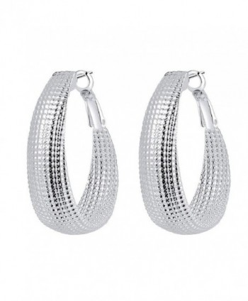 Doinshop New Fashion Women Eardrop Hoops Silver Dangle Earring Ellipse Earrings - CZ11XIYZWOV
