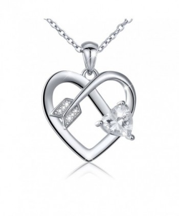 S925 Sterling Silver Cupid's Love Arrow Braveheart Love Heart Pendant Necklace-18 inches - CK1820RWK0U