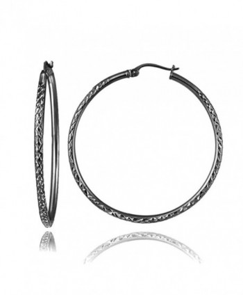 Black Flashed Sterling Silver 2mm Diamond Cut Round Hoop Earrings- All Sizes - 40mm - C8182ZRE965