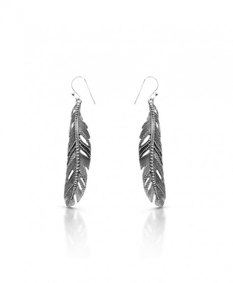 Feather Dangle Earrings 925 Sterling Silver Ethnic Gipsy Tribal Boho Chic - C1187AKNEQR