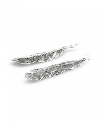 Feather Dangle Earrings Sterling Silver