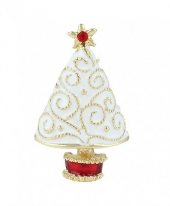 EVER FAITH Star Filigree White Wishing Tree Brooch Clear Austrian Crystal Enamel - Gold-Tone - CA11Q2XVK37