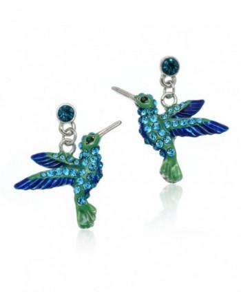 PammyJ Sparkling Hummingbird Blue and Green Crystal Dangle Earrings - CK12O0SAS07