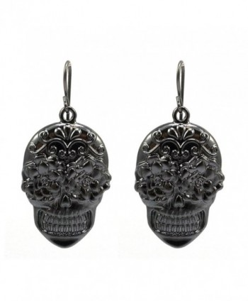 Sugar Skull Hand Painted French Hook Earrings - Hematite - CF12IEJISQN
