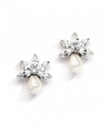 Mariell Dainty Freshwater Pearl and CZ Cluster Bridal Wedding Earrings - Great for Bridesmaid & Prom Too - C2123QWMIS7