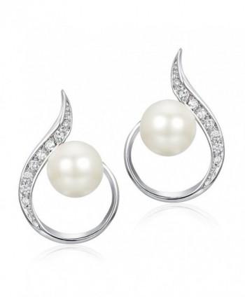 Delicin Jewelry Teardrop White Simulated Pearl Bridal Stud Earrings - C417YEE5DTL
