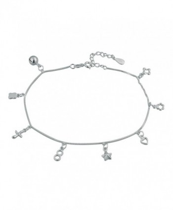 Mel Crouch 925 Sterling Silver Bling Sexy Beach Anklets Ankle Holiday Bracelets - C5182ZG3NXD