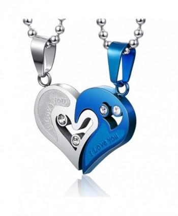 Couple Stainless Steel Necklace Sets I Love You Heart Shape Pendant - CN121DO3DSJ