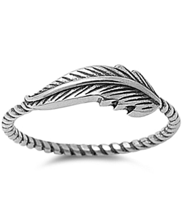 Feather Oxidized Twisted Band Celtic .925 Sterling Silver Ring Sizes 3-13 - CN120Y0635D