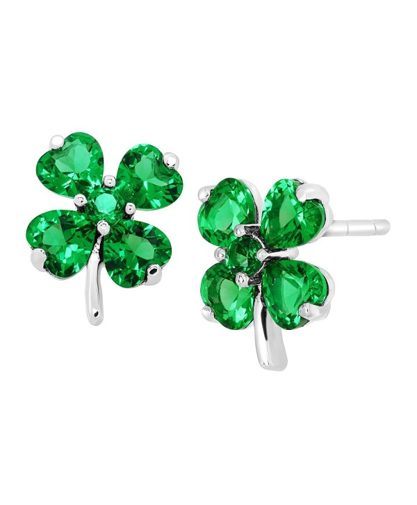 Shamrock Clover Stud Earrings with Green Cubic Zirconia in Sterling Silver - CZ17YT70MCD