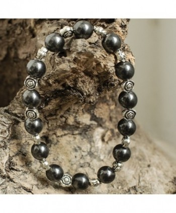 USWEL Hematite Bracelet Adjustable Magnetic in Women's Strand Bracelets