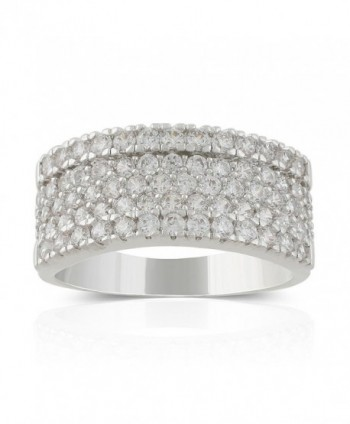 JanKuo Jewelry Rhodium Plated 5-Row Cubic Zirconia Pave Band Ring - CP12BPBPRMF