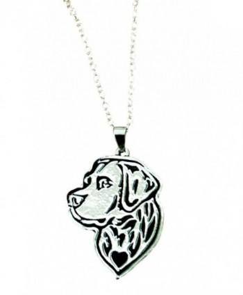 Labrador Retriever Etched Silver Chain Pendant Necklace by Pashal - C312NT4VWQ6
