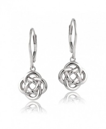 Sterling Silver Love Knot Flower Dangle Leverback Earrings - Sterling Silver - CU12CY95M63