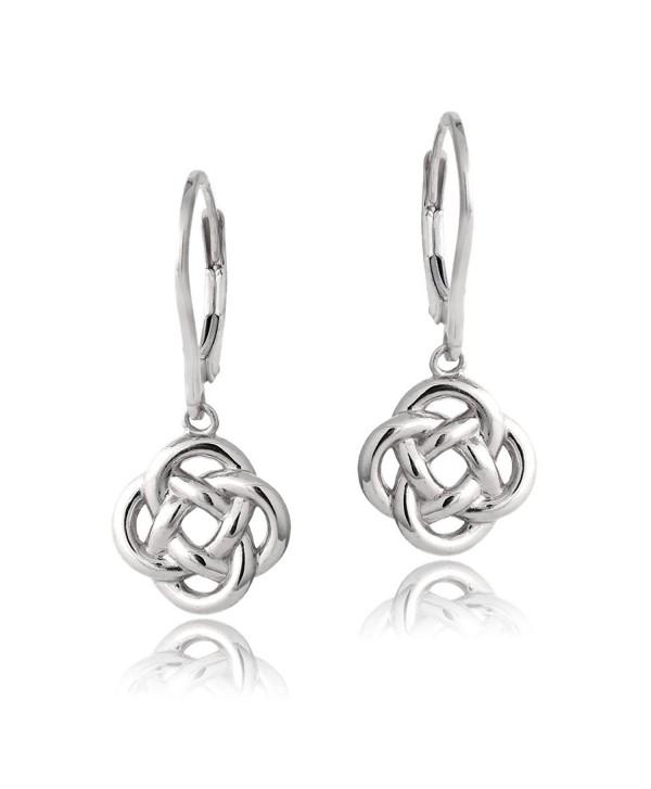 Sterling Silver Love Knot Flower Dangle Leverback Earrings - Sterling Silver - CU12CY95M63