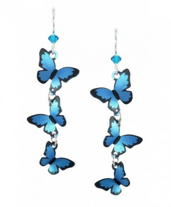 Sienna Sky Cascading 3D Blue Morpho Butterfly Earrings 1786 - C911FOS6ECN