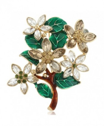 EVER FAITH Austrian Crystal Vintage Style Christmas Wishing Tree Brooch Brown - Gold-Tone - CG11PDG689F