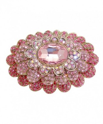 TTjewelry Sweet Pink 3 Layer Flower Austria Crystal Gold-tone Large Brooch - CJ129X303DF