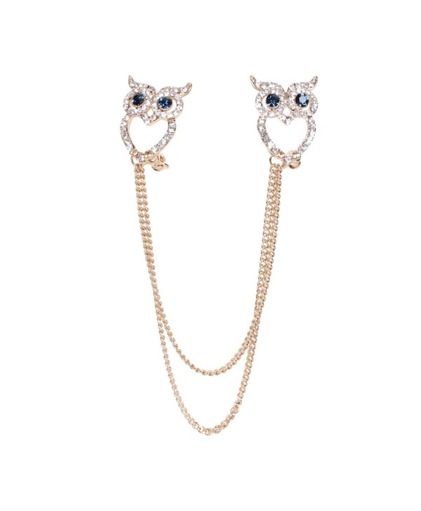 Cute Animal Brooches Gold-tone Clear Crystal Novelty Link Girl Women Bouquet Party Art Collar Pins - Gold Owl - CA1265NPXQN