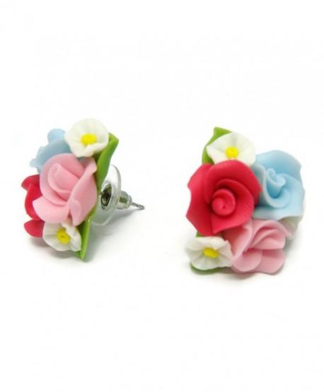 CHADADA Jewelry Classic Porcelain Rose Post Stud Earrings For Women - CA12NV86PC6