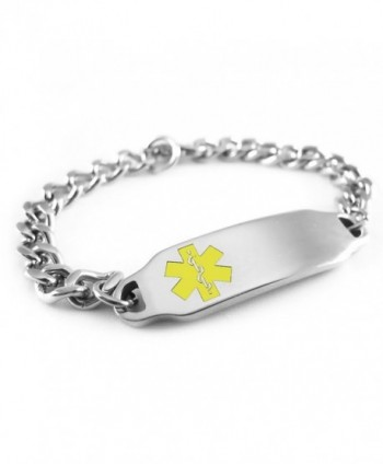 MyIDDr - Pre-Engraved & Customizable Hypoglycemia Medical Alert ID Bracelet- Yellow Symbol - CQ116JREOW5