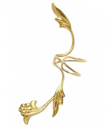 Ear Charm's Non-Pierced Flower and Leaf Full Ear Spray Ear Cuff Gold on Silver Left Earring Cuff - C312O8NE3IO