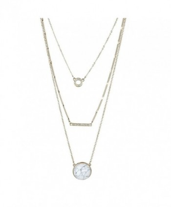 Fettero Womens Natural Stone Multilayer Pendant Long Chain Necklace 14K Gold Plated - No.9 - C4183Y8RNK2