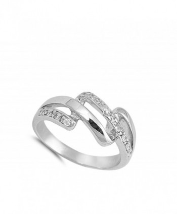 White Link Fashion Sterling Silver in Women's Band Rings