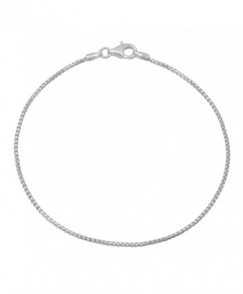 925 Sterling Silver Nickel-Free 1.2mm Round Box Chain Necklace Made in Italy + Bonus Polishing Cloth - CZ17Z4UDMM0
