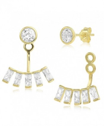 Ear Jacket 2 in 1 Yellow 14k Gold Plated-Sterling Silver- CZ AAA Quality Stud & Jacket Earrings Set - CJ127KYIHC3