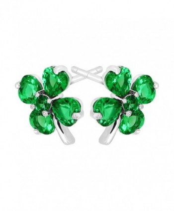Shamrock Clover Earrings Zirconia Sterling