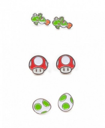 Nintendo Super Mario Bros - Yoshi- Egg & Mushroom Stud Earrings | 3 Pair Set - CG12O6O5RT0