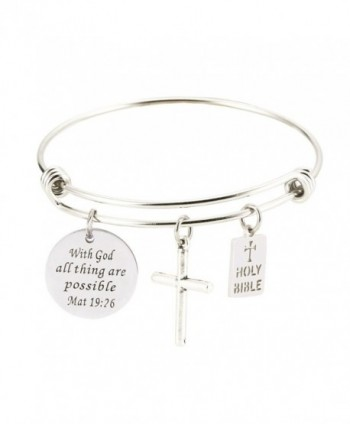 Bible Verse Inspirational Religious Bracelets possible - With God all thing are possible - C6186Y2TOHY