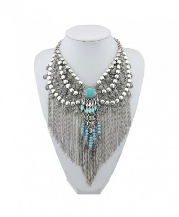 BOCAR Statement Tassel Jewelry Boho Pendant Chain Necklace for Women - C4182DG49GQ