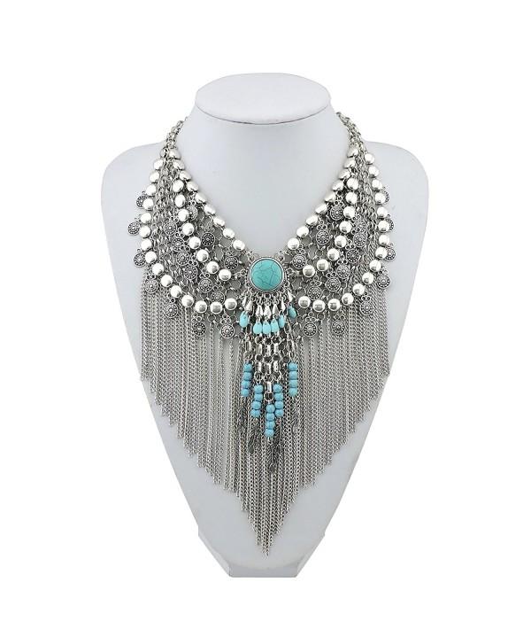 BOCAR Statement Tassel Jewelry Boho Pendant Chain Necklace for Women - C4182DG49GQ