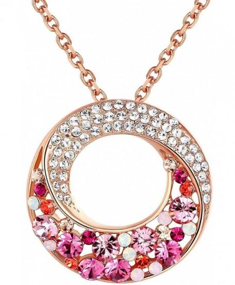 Multi Stone Swarovski Elements Crystal Necklace - Pink - CO120TOHFA5
